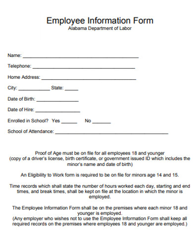 printable employee information forms