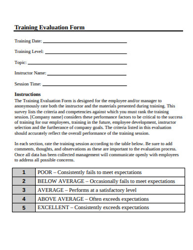 printable training evaluation form