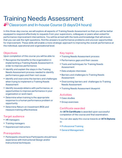 printable training needs assessment example