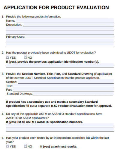 product evaluation application form