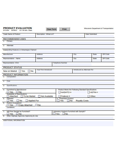 product evaluation form example