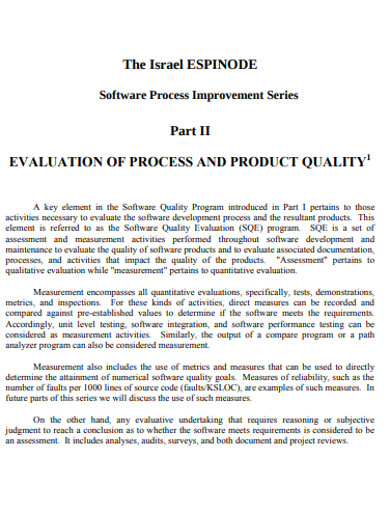 product quality evaluation