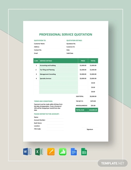 professional service quotation template