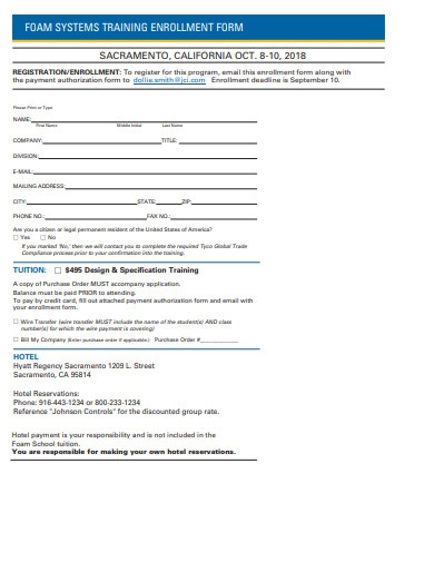 professional training enrollment form