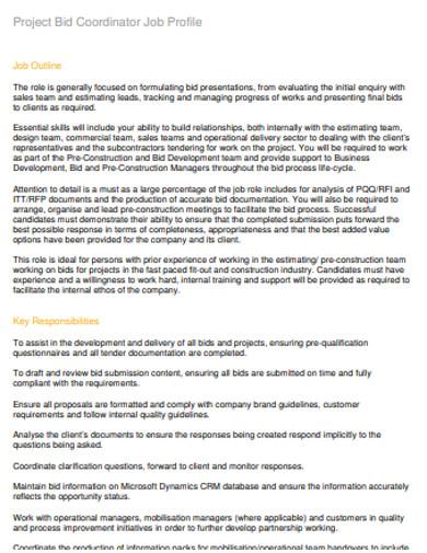 project bid coordinator job profile