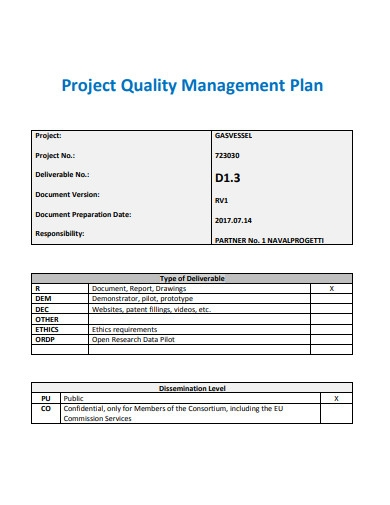 project quality management plan