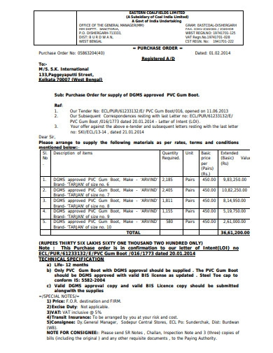 purchase order letter example