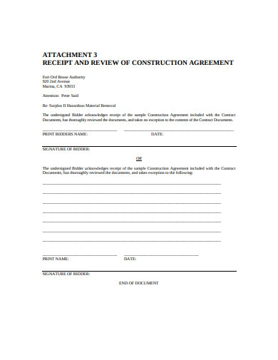 receipt and review of construction aggrement
