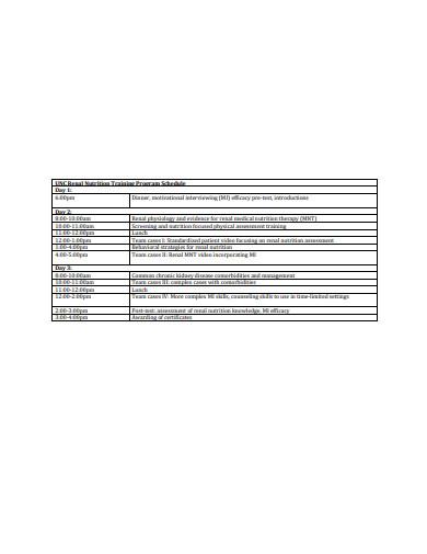 renal nutrition training program schedule