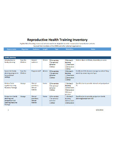 reproductive health training inventory example