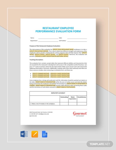 restaurant employee performance evaluation form template1