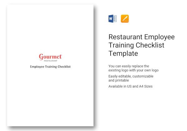 restaurant employee training checklist template