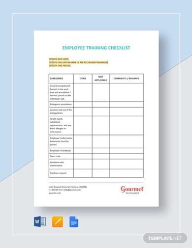restaurant employee training checklist templates