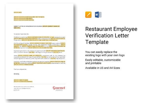 restaurant employee verification letter template