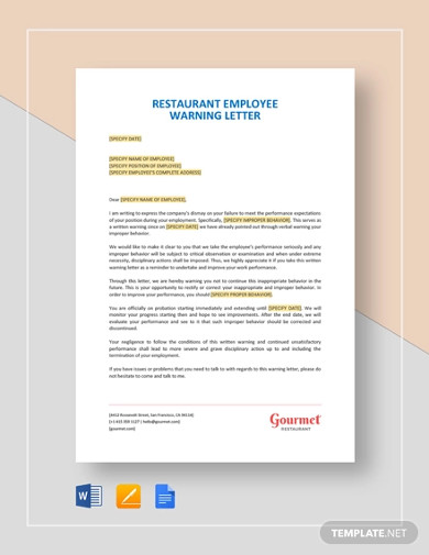 restaurant employee warning letter template