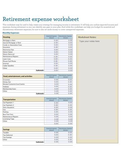 retirement expense worksheet example