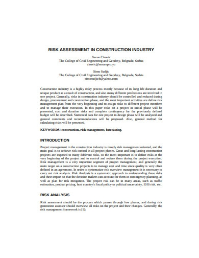 risk assessment in construction industry