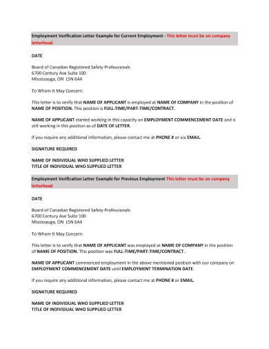 safety professionals income verification letter sample