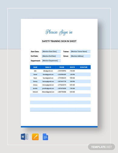 safety training sign in sheet template