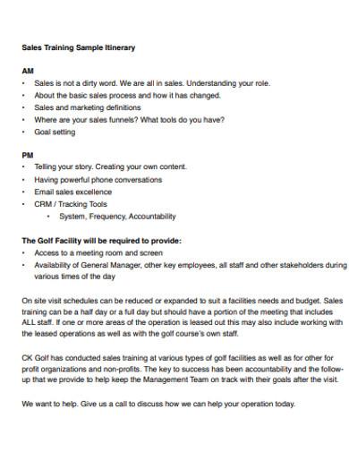sales training sample itinerary