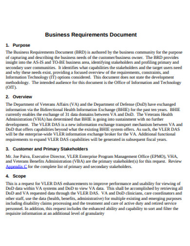 sample business requirements document