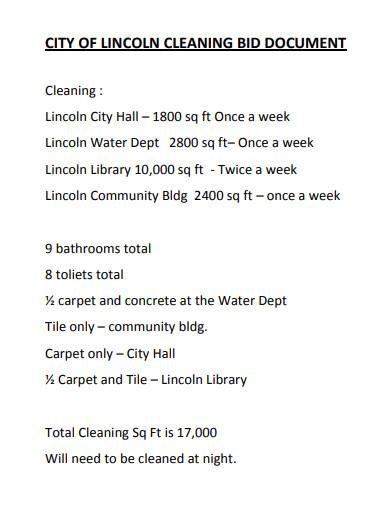 sample cleaning bid