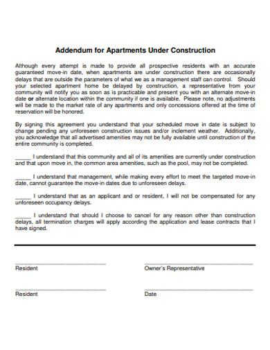 sample construction addendum