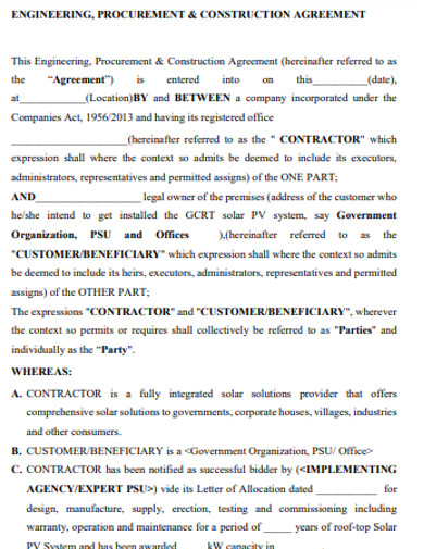 sample construction agreement