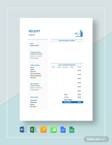 sample construction receipt template