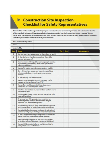 sample construction safety checklist