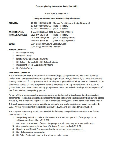 sample construction safety plan