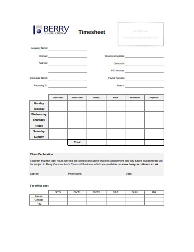 sample construction timesheet