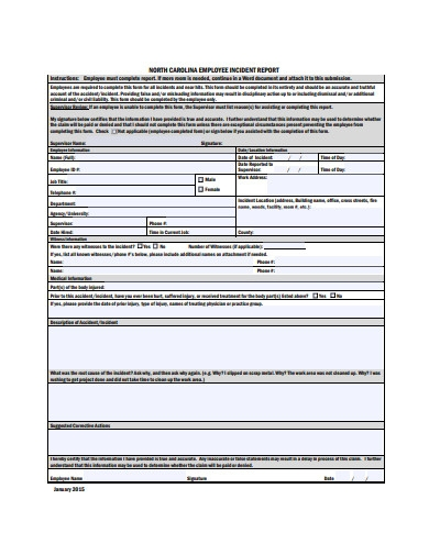 sample employee incident report