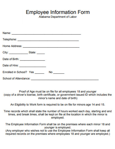 sample employee information form in pdf