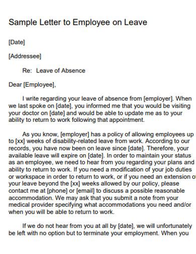 sample employee leave letter