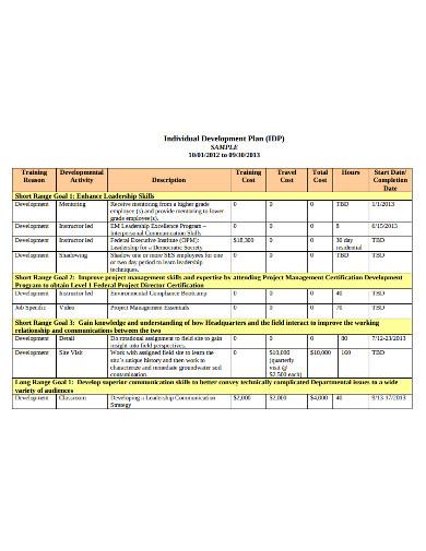 sample individual devolopment plan