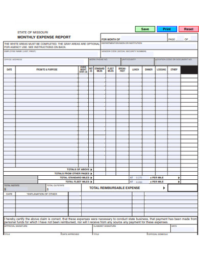 sample monthly expese report example