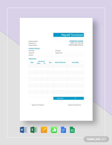 FREE 15+ Payroll Timesheet Examples & Templates - PDF ...