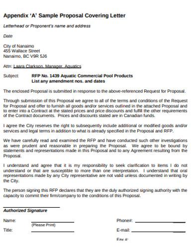 sample proposal covering letter