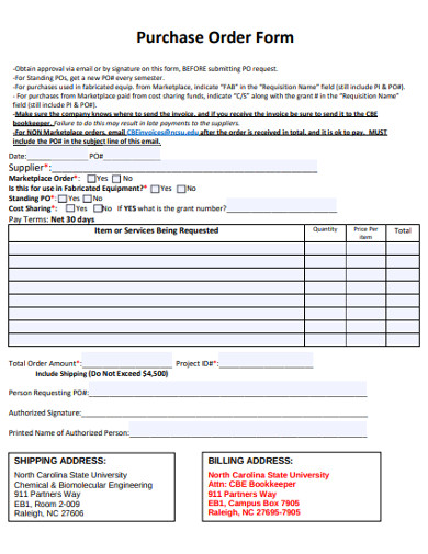 sample purchase order form example