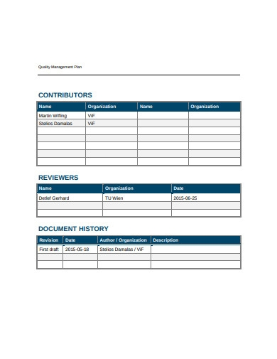 sample quality management plan example