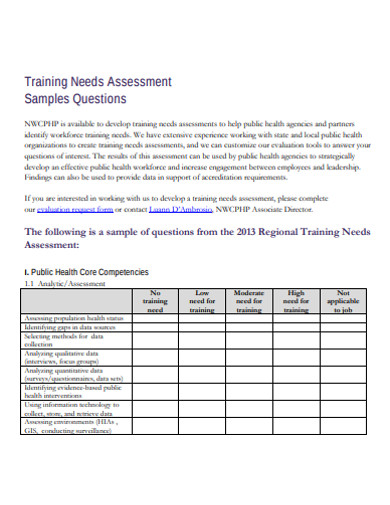 sample training needs assessment example