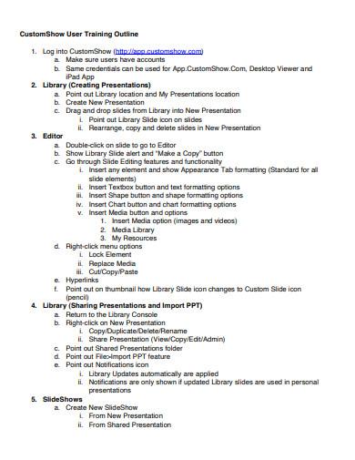 sample training outline