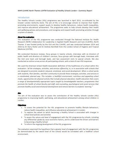 schools evaluation summary report