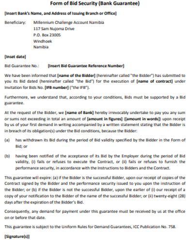 security bid form