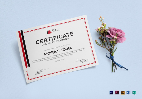 security training certificate template