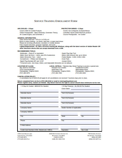 service training enrollment form