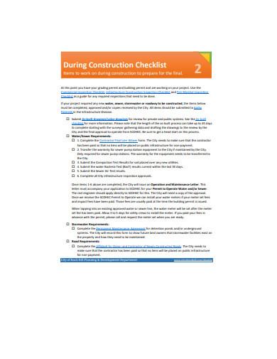 simple construction checklist