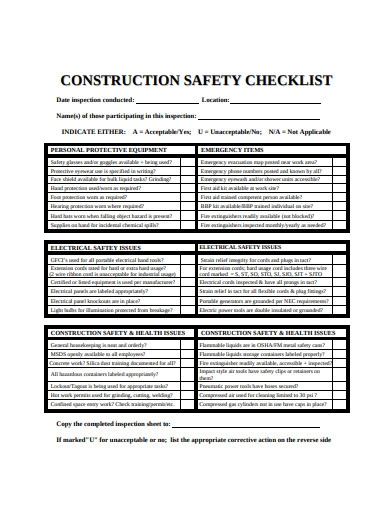 simple construction safety checklist