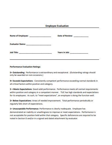 simple employee evaluation